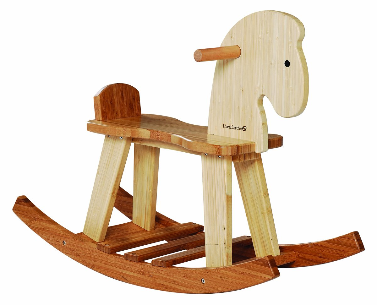 Bamboo Rocking Horse Water Based Paints For Children 12 Months +