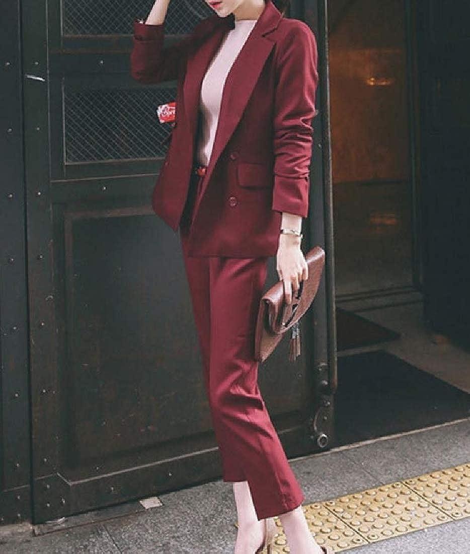 Mfasica Womens Elegant Business Office Lady Suit Set Work Blazer Pant