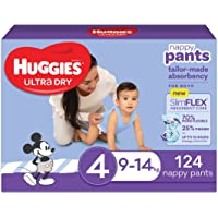 Huggies Ultra Dry Nappy Pants Boy Size 4 (9-14kg), 124 count