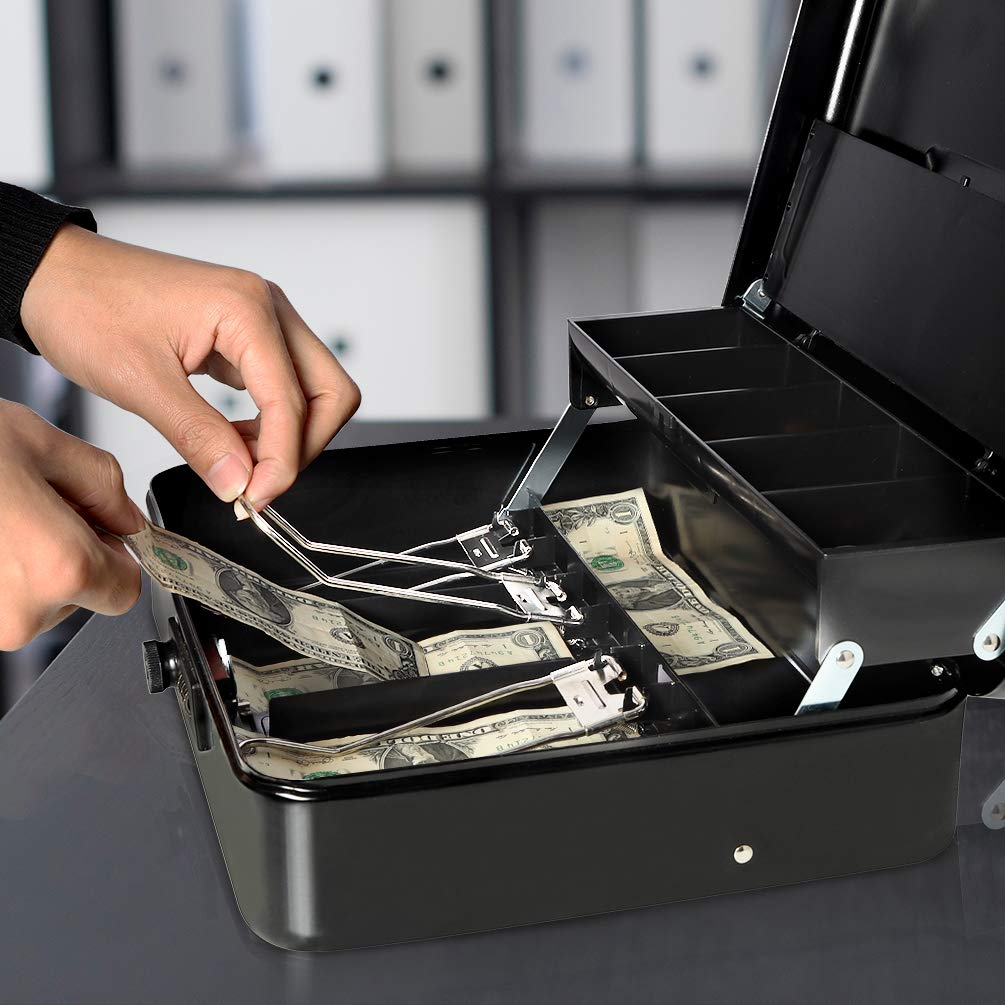 9ae82f02e949 Details about Jssmst Locking Large Metal Cash Box with Money Tray Money Box  with Combination