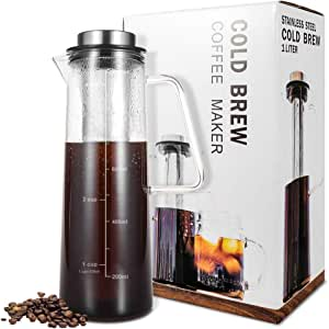 Cold Brew Coffee Maker 4 Cup, Brewed Iced Coffee/Tea Maker 34 oz / 1 L, Thick Borosilicate Glass Carafe with Removable Stainless Steel Filter & BPA-Free Cap