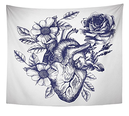 Emvency Tapestry Wall Hanging Blooming Anatomical Human Heart in Vintage Style Design for Your Tattoo Other Polyester Fabric Home Decor For Living Room Bedroom Dorm 50x60 Inches