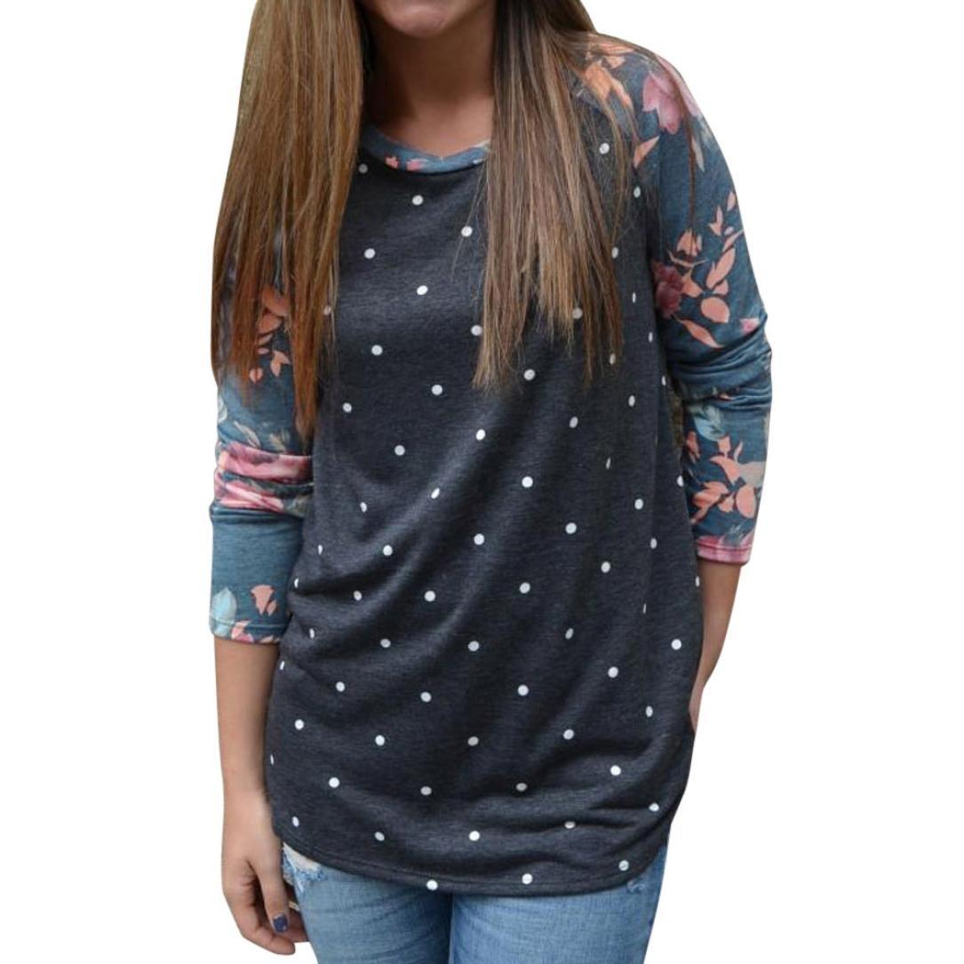 OVERDOSE Damen Blumenstreifen Druck Rundhalsausschnitt Pullover Bluse Tops Shirts ERr-78