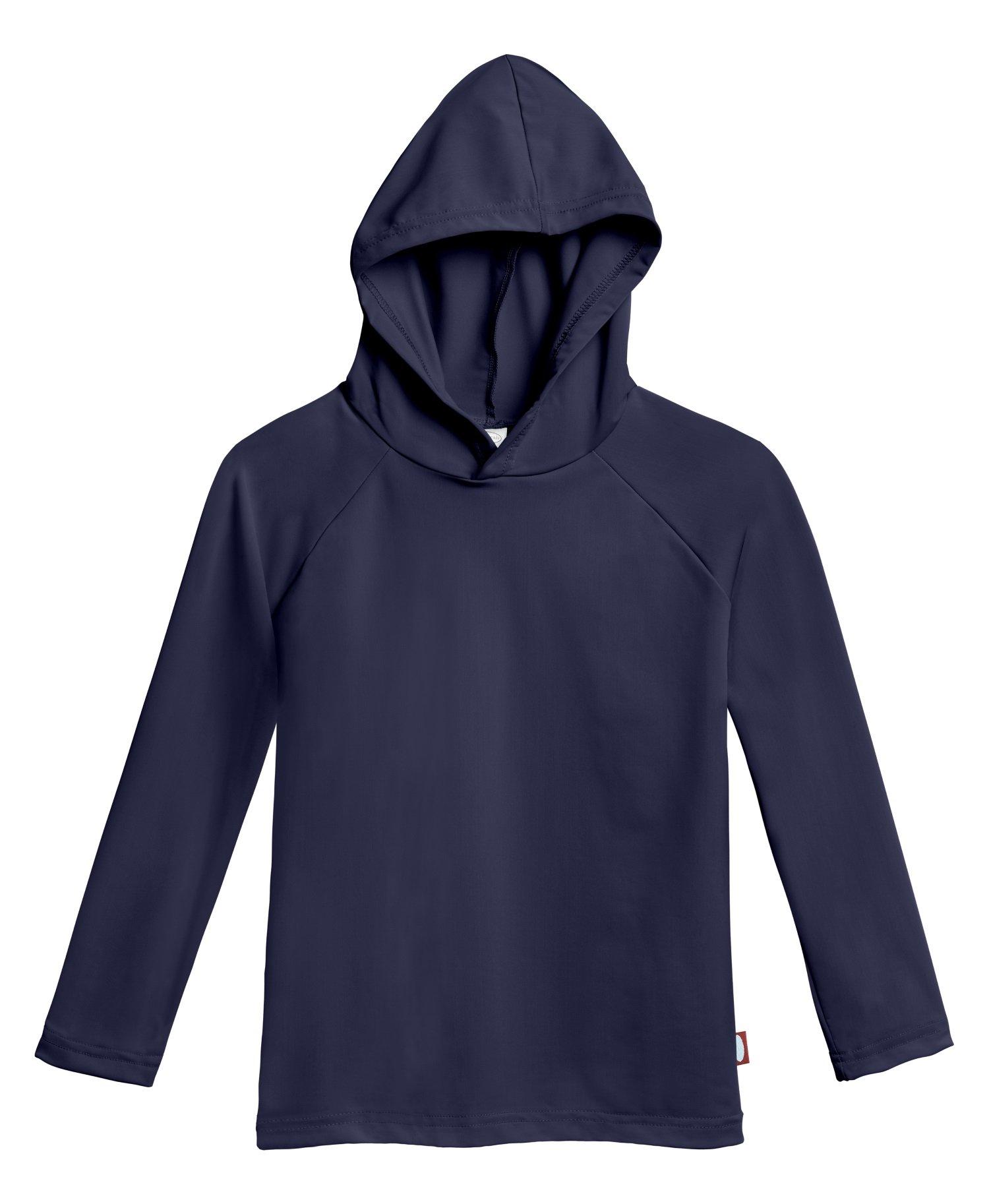 City Threads Baby Boys' and Girls' Hooded Long Sleeve Rashguard For Sun Protection Beach Pool Swimming Tee, Navy, 18/24m