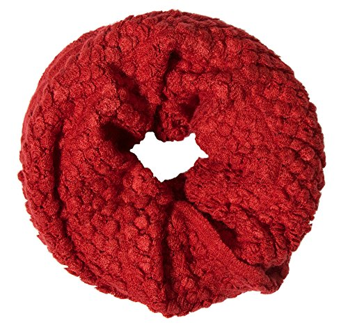 Simplicity Women's Chunky Knit White Circle Loop Winter Infinity Scarf, Burgundy