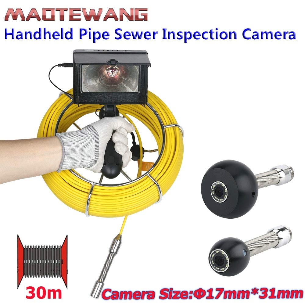 XH 4.3-inch Drainage Underwater Research Detecting Handheld 1000TVL IP68 Waterproof Camera Industrial Pipeline Sewer Maintenance Monitoring System 30M Fiberglass Cable 8 LED Lights and Sun Visor