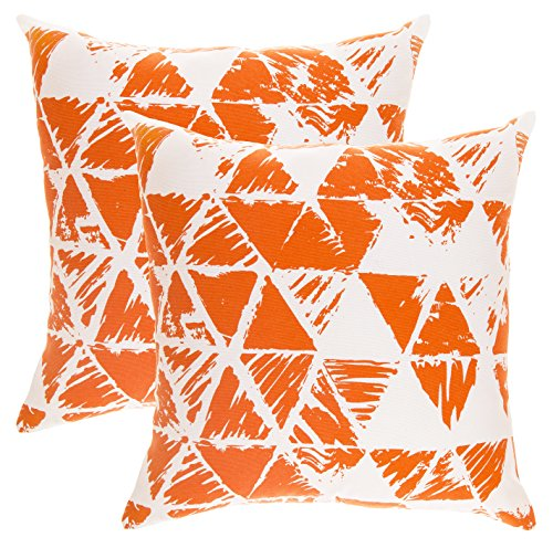 TreeWool, (Pack of 2) Ikat Triangle Geometric Accent Throw Pillow Covers in Cotton Canvas (16 x 16 Inches; Orange & (16