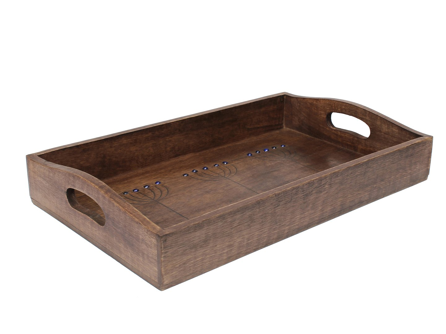 Amazon.com: handcrafted Vintage Wooden Serving Tray Large Brown Wood Hand  Carved with Handle 16 X 10 Inches: Kitchen & Dining
