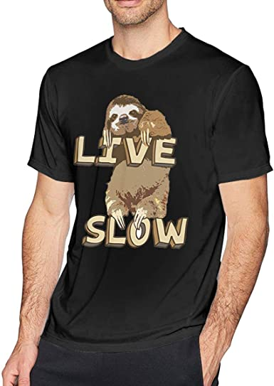 Cute Sloth Live Slow Jersey Camiseta Hombre Suave Cuello ...