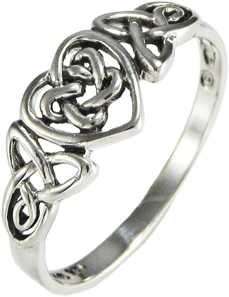 Silver Celtic Knot Triquetra Hidden Pentacle Heart Ring (Size 4-15)