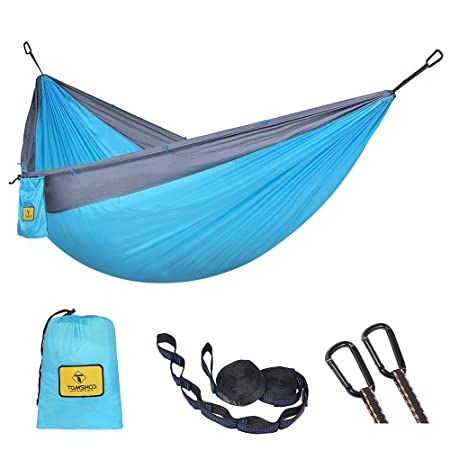 TOMSHOO Double Camping Hammock Lightweight Nylon Tree Hammock for Backpacking, Camping, Hiking, Travel, Beach, Yard