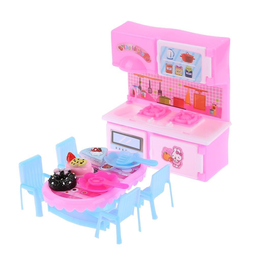 Domybest Mobili per Casa delle Bambole Tavolo e 2 Sedie di Plastica Colorati Giocattoli in Miniatura per Casa di Bambole Accessori per Bambole Barbie Tavolo da t/è pomeridiano