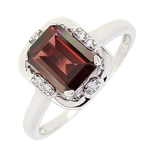 BL Jewelry Vintage Style Sterling Silver Emerald Cut Genuine Mozambique Garnet Ring 1.7 CT.T.W