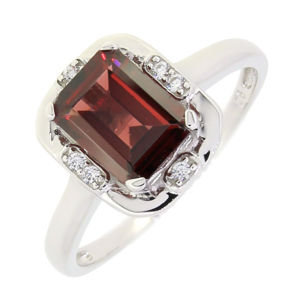BL Jewelry Vintage Style Sterling Silver Emerald Cut Genuine Mozambique Garnet Ring (1.7 CT.T.W) (9)