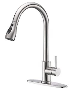 Keonjinn Stainless Steel Kitchen Faucets, High Arc Single Handle Pull Out Brushed Nickel Kitchen Faucet, Single Level with Pull Down Sprayer