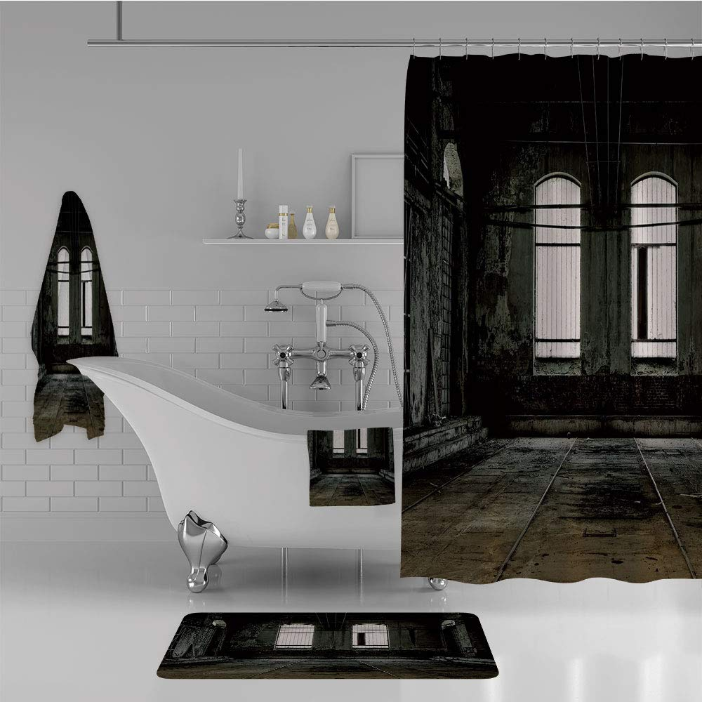iPrint Bathroom 4 Piece Set Shower Curtain Floor mat Bath Towel 3D Print,Floor Walls and Windows Messy Aged Wrecked Workshop,Fashion Personality Customization adds Color to Your Bathroom.
