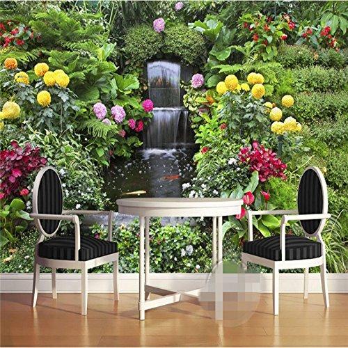 Wapel Wallpaper Mural Wall Sticker Fresh 3D Flower Garden Falls Fountain Mural Background Wall 200Cmx140Cm ()