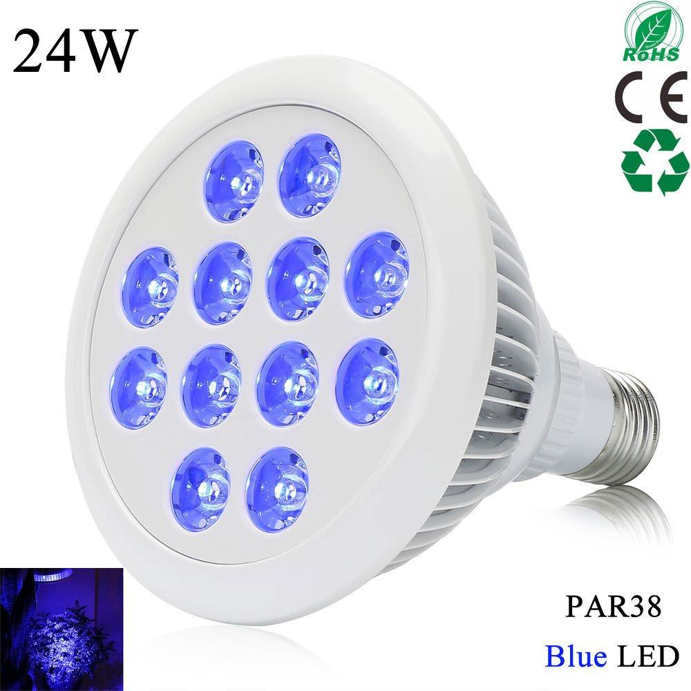 24W E26 Blue LED Grow Lights for Terrestrial Plants, Aquatic Plants Corals-Esbaybulbs