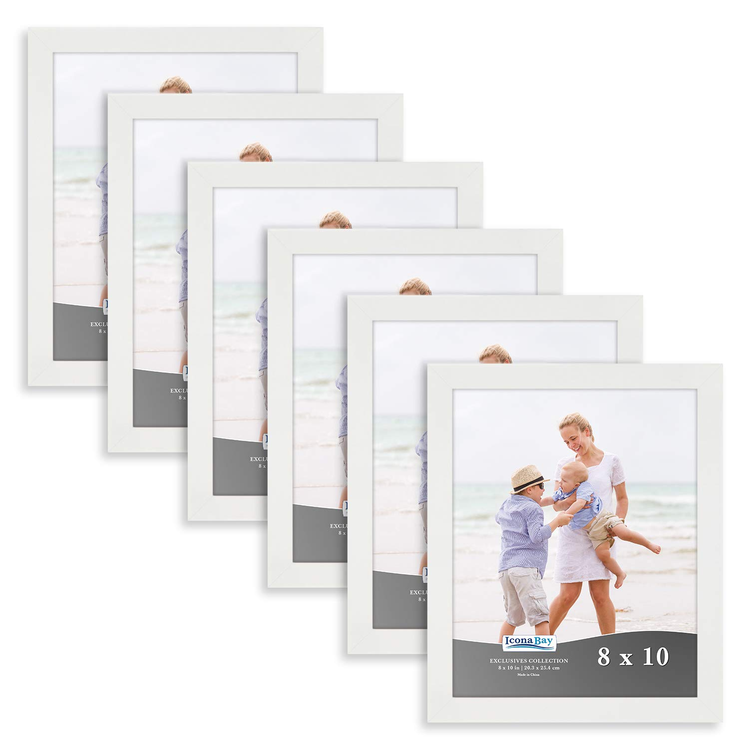 Icona Bay 8x10 Picture Frame (6 Pack, White), White Sturdy Wood Composite Photo Frame 8 x 10, Wall or Table Mount, Set of 6 Exclusives Collection