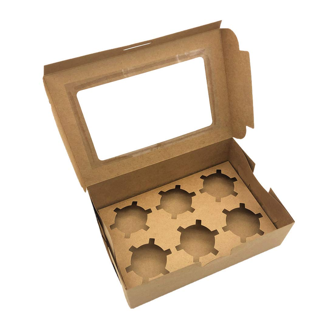 30-Set Cupcake Boxes with Inserts and Window Fits 6 Cupcakes, 9.4'' x 6.3'' x 3'', Brown Food Grade Kraft Cookie Gift Boxes, Treat Boxes for Cookies, Bakeries, Muffins and Pastries by Aglahome (Image #4)