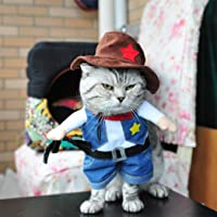 Hillento Cowboy Dog Costume with Hat, Cowboy Halloween Costumes for Cat & Dog Cosplay, West Cowboy Uniform with Hat
