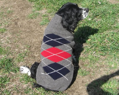 Chilly Dog Wool Argyle Sweaters 3 Colors 100% wool Medium Red, My Pet Supplies