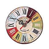 REYO Vintage Wall Clock Style Non-Ticking Silent Antique Wood Wall Clock for Home Kitchen Office (h)