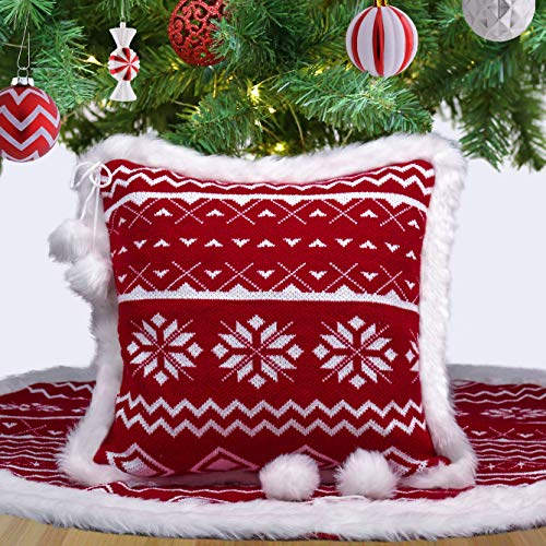 Teresas Collection Traditional Red and White Knitted Christmas Pillow Covers with Bowknot Pompom, 18x18 Inch, Themed with Christmas Tree Skirt (Not Included)