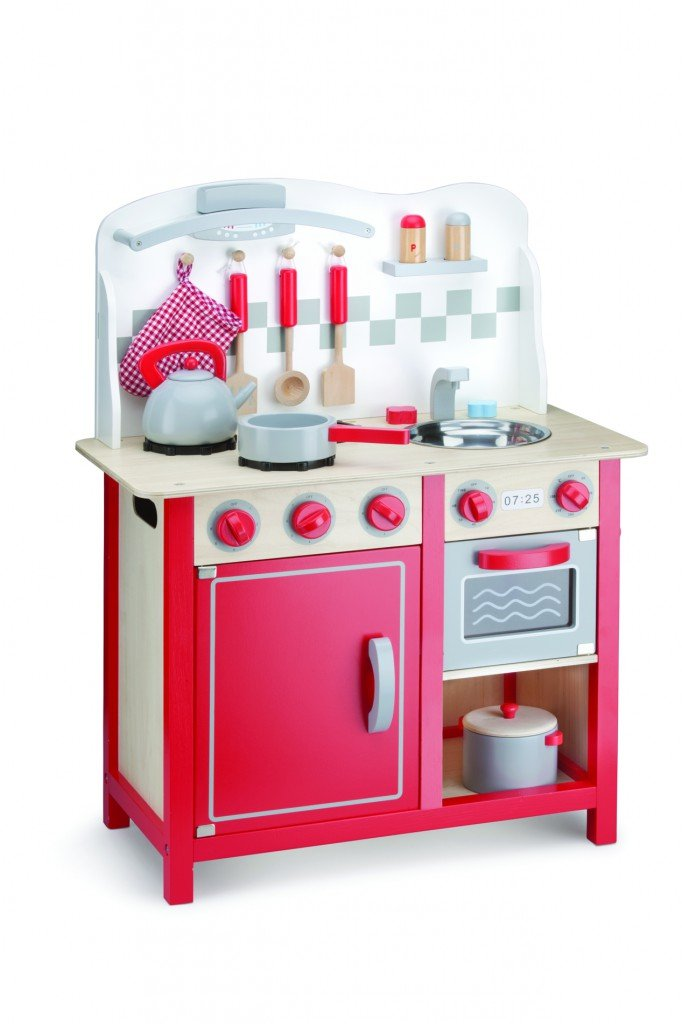 Küchenzeile - Bon Appetit - Deluxe Spielküche   Spielküche Deluxe mit Zubehör aus Holz   Gewicht  ca. 8,4 kg   Maße  60 x 30 x 78 cm - Arbeitshöhe  46 cm f07f6b