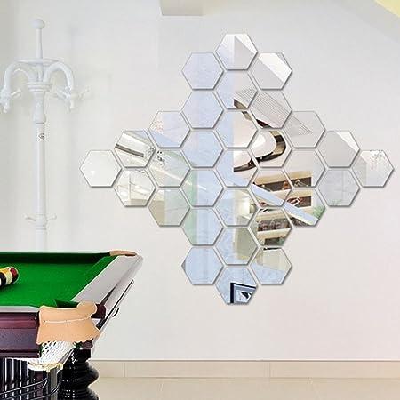 12Pcs Wall Stickers 3D Mirror Hexagon Vinyl Removable Decals Home Decors Art DIY