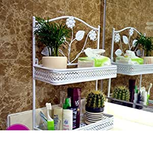 Cuarto de ba o estante de ba o accesorios forja pared del for Estanteria bano amazon
