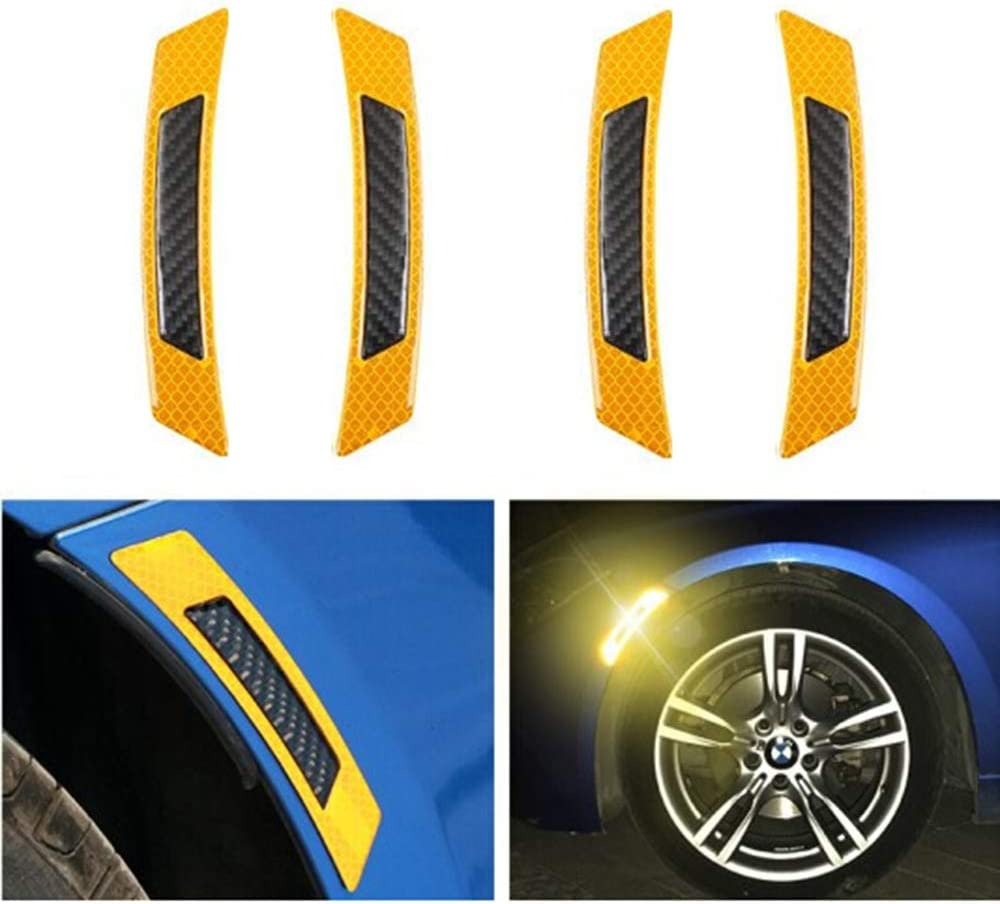 2x Car Door Edge Wheel Fender Guard Reflective Sticker Tape Decal Safety Warning