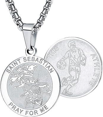 Wolentty Saint Sebastian Collar de 1 Pulgada de Acero Inoxidable ...