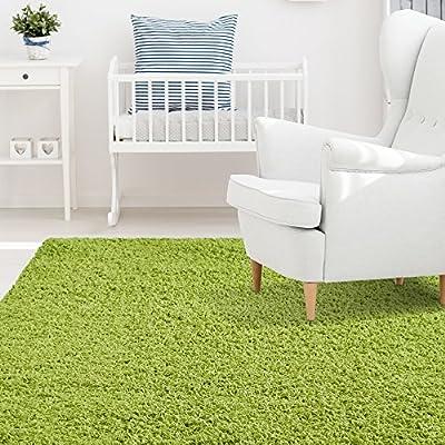 iCustomRug Affordable Shaggy Rug Dixie Cozy & Soft Kids Shag Area Rug Solid Color For Children's Play Area, Bedroom or Nursery Carpet