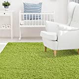 Lime Green Rug iCustomRug Affordable Shaggy Rug Dixie Cozy & Soft Kids Shag Area Rug Solid Color Lime Green, For Children's Play Area, Bedroom or Nursery Carpet 4 Feet x 6 Feet (4' x 6')