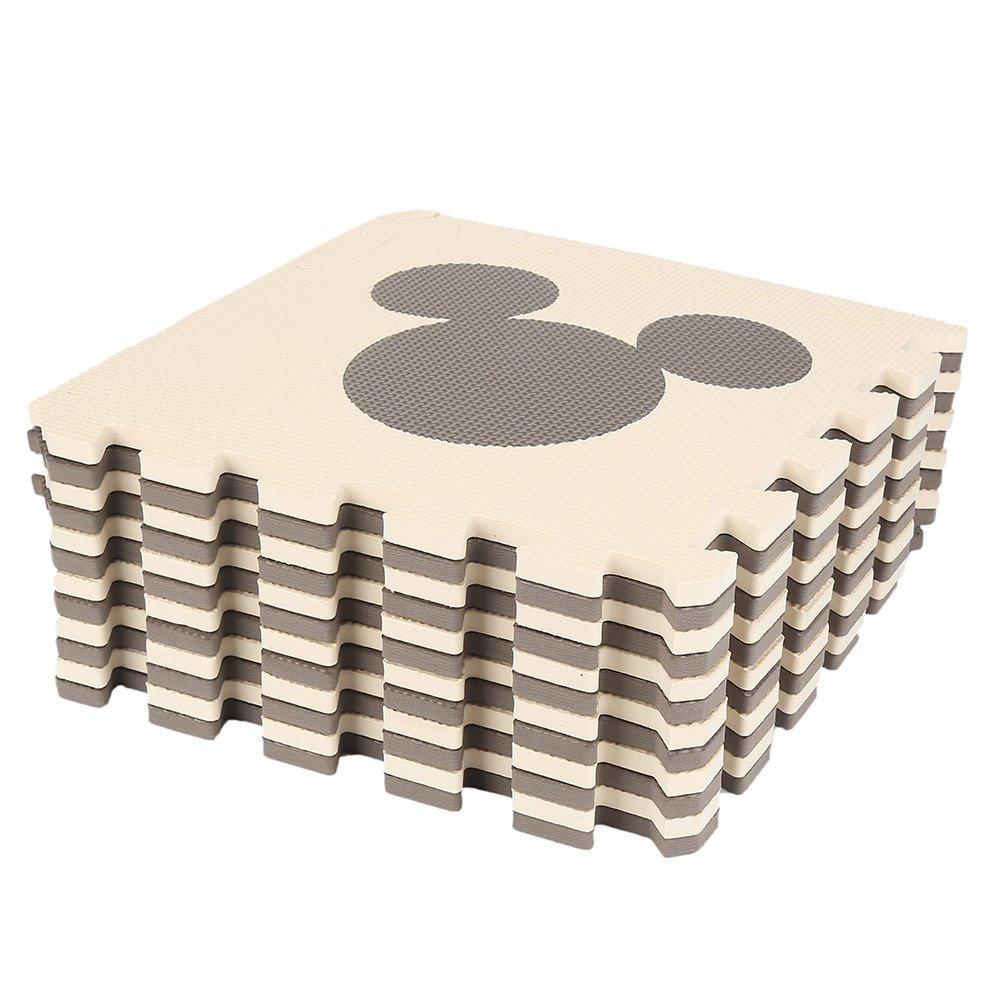Turefans 12htg Eva Puzzle Matte,Stück Puzzle Spiel Matte, Eva-Schaum-Pad, 32,5 * 35 cm, harmlos Eva-Material, sechs Muster, weich und komfortabel, beige, braun