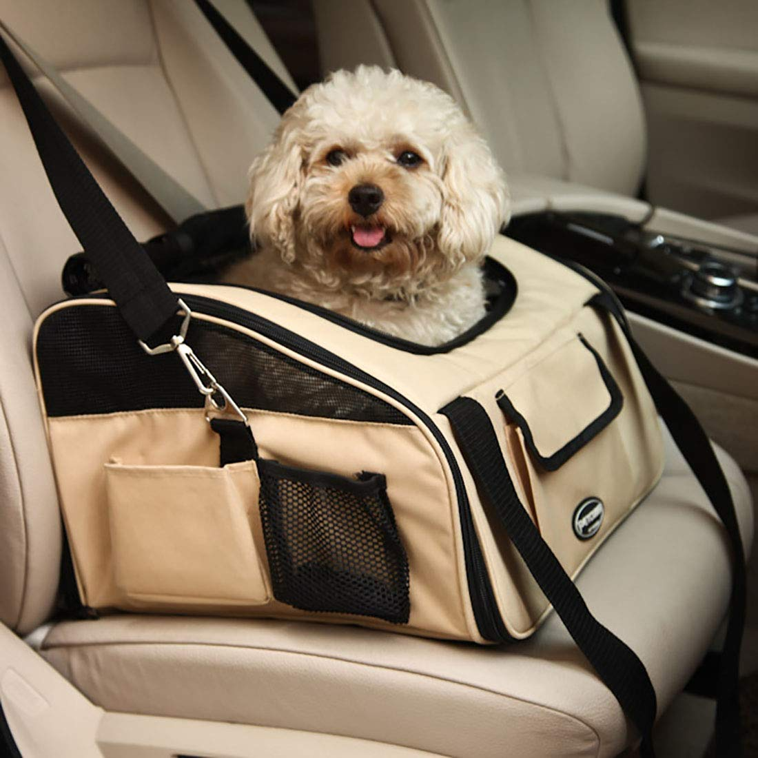 Beige 40X34X26cm Beige 40X34X26cm WEATLY Pet Car Bag Kennel Car Bag Out Pet Bag Pet Dog Backpack Car Dog Mat (color   Beige, Size   40X34X26cm)