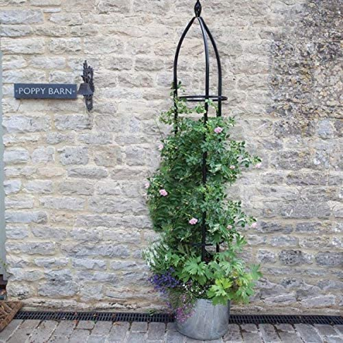 Woodland Obelisk 1.5m garden mile/® Large Garden Obelisk Outdoor Arch Heavy Duty Strong Tubular Plant Cage For Roses Climbing Plants Support Structure Garden Decoration Ornamental