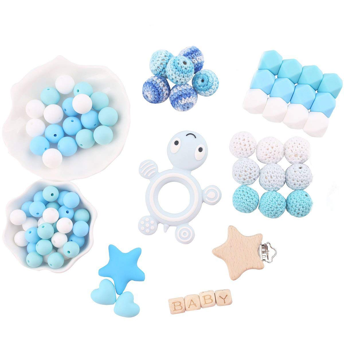 Baby Love Home DIY Silicone Teething Accessory Organic Wooden Pacifier Clip Teether Making Blue Tortoise Kit Teether Toys Newborn Mom Gifts by Baby Love Home