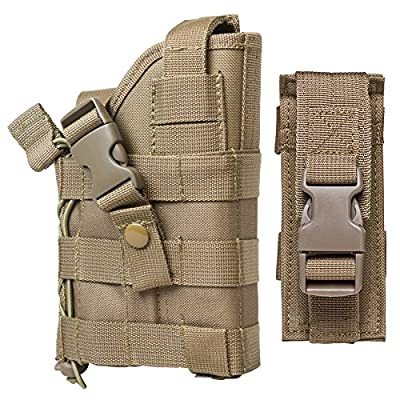 M1SURPLUS Tan MOLLE Compatible Holster With FREE Magazine Carrier Pouch / The Holster Fits Glock 17 20 21 22 37 31 FN FNS FNP FNX Walther P22 P99 Pistols