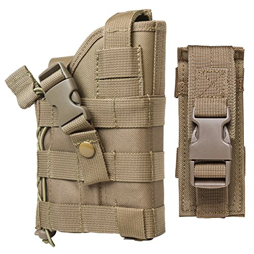 M1SURPLUS TAN MOLLE Compatible Holster With FREE Magazine Carrier Pouch / The Holster Fits Kimber Desert Warrior SOC MATCH II Custom TLE II Eclipse Target Ultra Raptor II 1911 Full Size Pistols