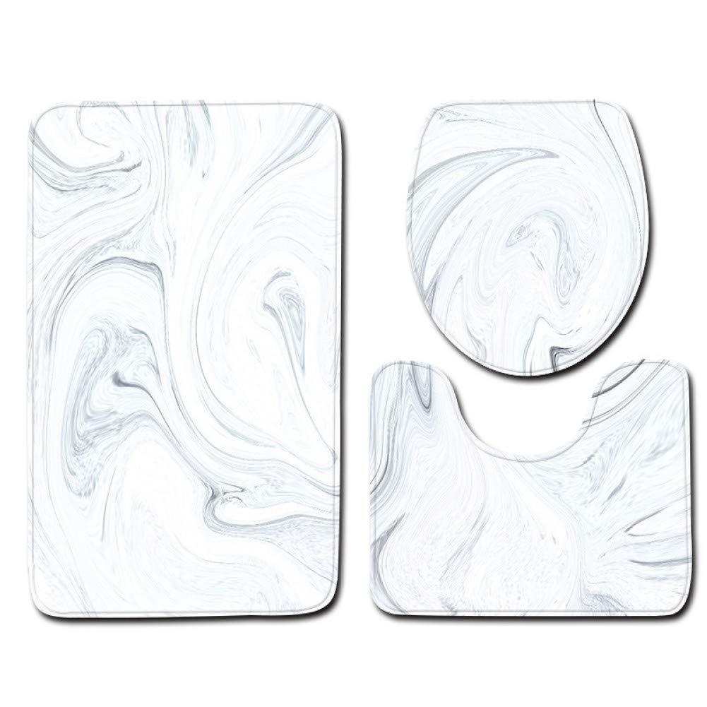 ZHENGXIANGA Marble Three-Piece Winter Winter View Bathroom Set Mat by ZHENGXIANGA