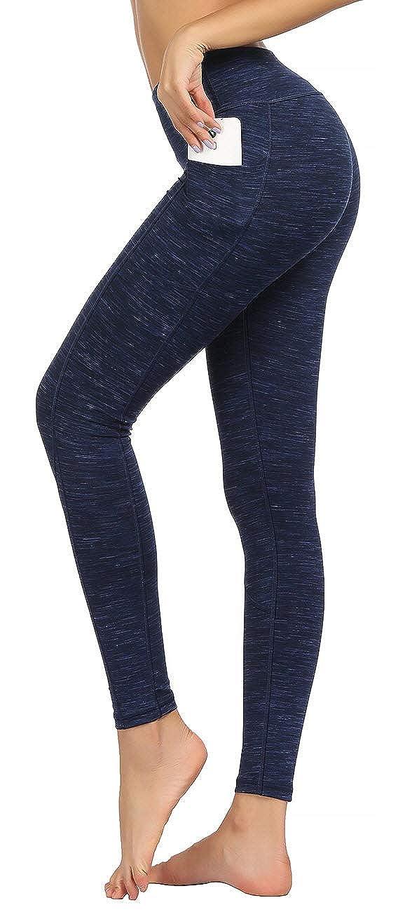 9851 Dark bluee High Waist Yoga Pants with Side & Inner Pocket Sports Leggings Tummy Control