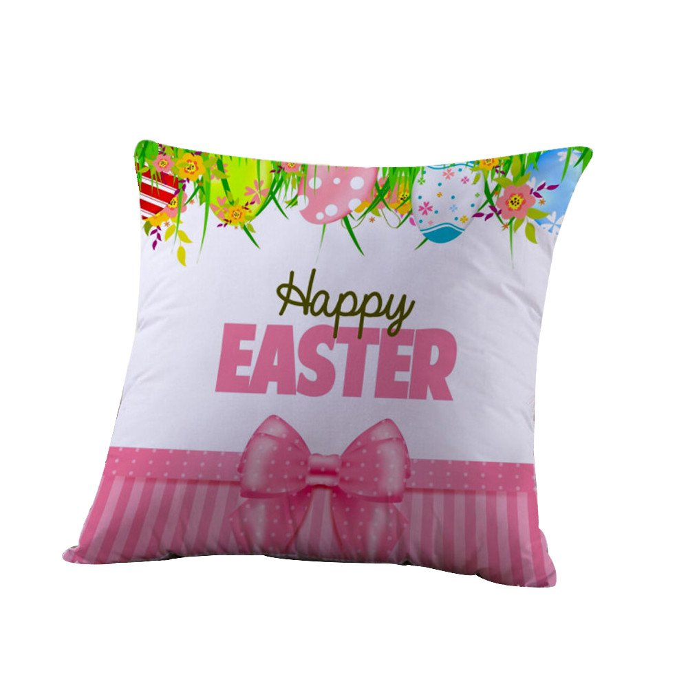 Geetobby Happy Easter Day Bunny Rabbit Flowers Spring Gift Cotton Linen Square Throw Pillow Case