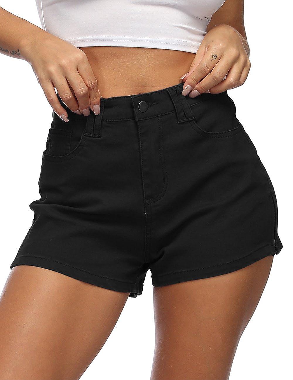 Black Cuihur Women's Juniors Casual Split High Waist Denim Jeans Shorts