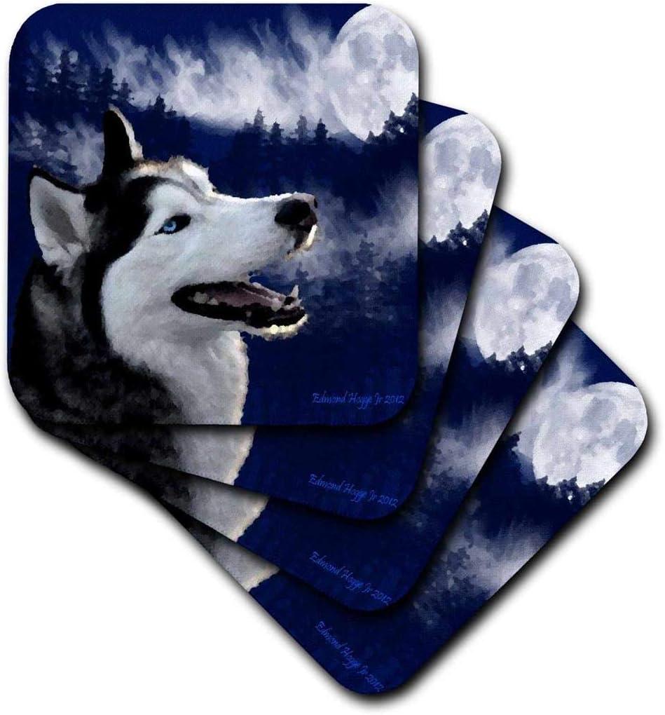 3dRose Blue Eyed Alaskan Husky - Ceramic Tile Coasters, Set of 4 (CST_13656_3)