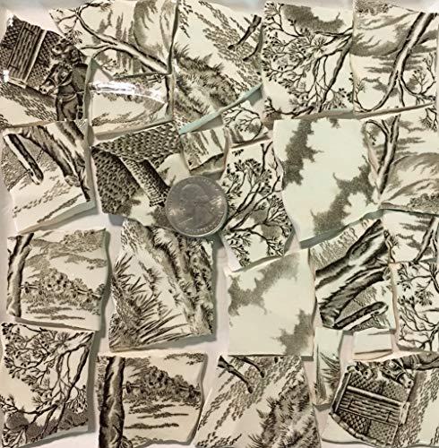 Mosaic Art & Crafts Supply ~ Brown & White Vintage Transferware Rim Tiles (B925)