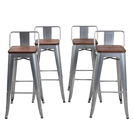 Amazoncom Changjie Furniture Low Back Metal Bar Stool For Indoor