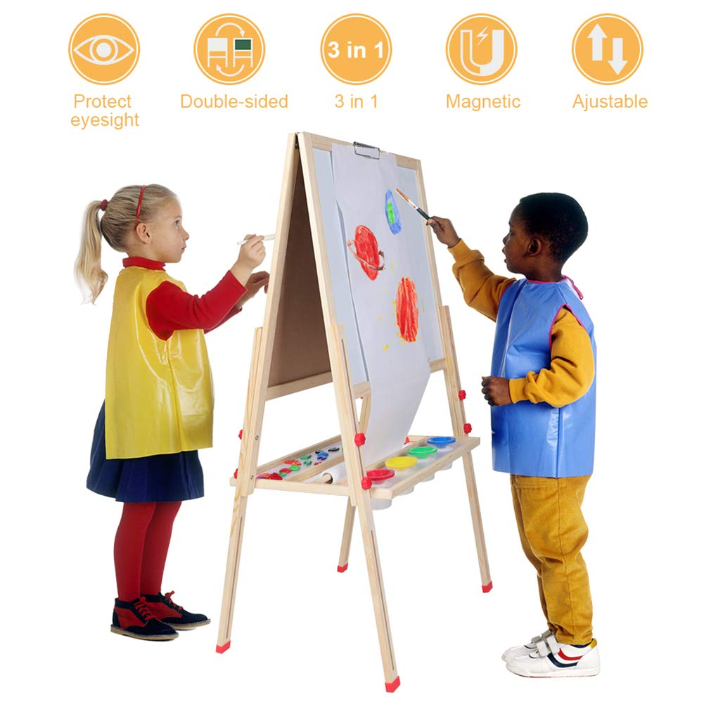 Wooden Giant Magnetic Art Easel Adjustable Deluxe Standing Easel with Chalkboard Dry-Erase Board Paper Roll Paper Binder Clip and Drawing Accessories GOTOTOP