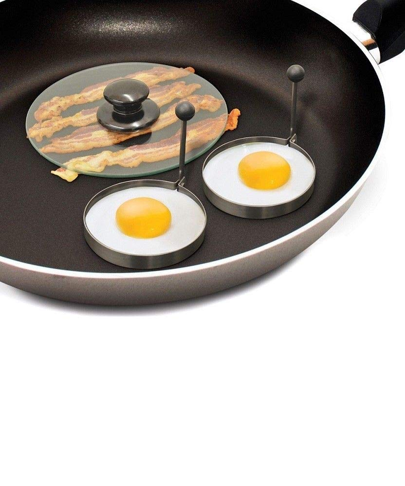 KCHEX>Bacon Press & Egg Ring Breakfast Set Burger Breakfast Pancake Gift Flat Cook NEW>Make the perfect breakfast for any occasion with a Bacon Press and Egg Rings. Featuring an 8'' tempered glass